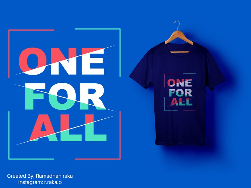 one for all modern vector typography tshirt design tshirtdesign tshirt mockup design mockup kaos illustration desainkaos art