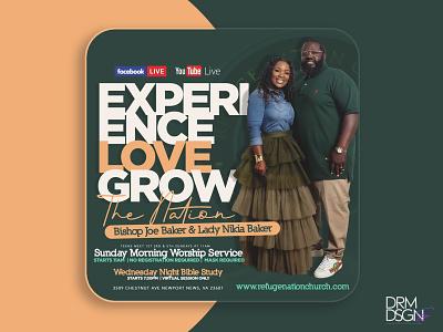 Experience. Love. Grow. flyer design marketing flyer designs church marketing church branding branding flyer