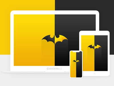Free Wallpaper #01 batman superheroes yellow black simple wallpaper minimal illustration free flat design abstract 8k 4k