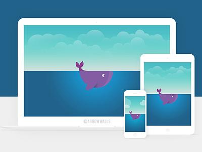 Free Wallpaper #14 simple fish mobile wallpaper minimal illustration free flat design abstract 8k 4k