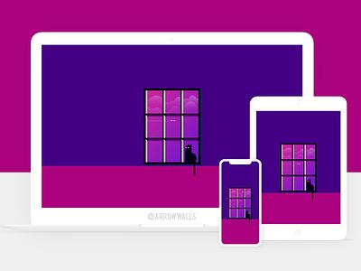 Free Wallpaper #15 pink blue black cat simple mobile wallpaper minimal illustration free flat design 8k abstract 4k