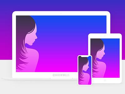 Free Wallpaper #19 women girl tablet black simple mobile wallpaper minimal illustration free flat design abstract 8k 4k