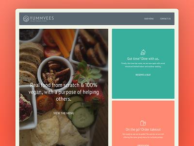 YUMMVEES- Site Build and Brand icons food simple clean branding vegan website ui design