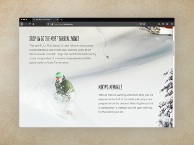 Full Pull :: From Dawn to Dusk - Event Landing Page events event page ui landing page landingpage snowboarding branding epicurrence