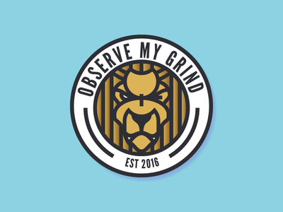 Observe My Grind Logo omg motivation branding logo lion animal flat illustration iconography just for fun pixel-perfect icon