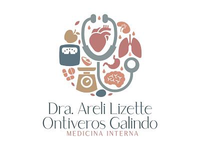 Medicina Interna y Nutrición icon illustrator identity flat typography vector logo illustration design branding