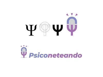Psychology podcast logo icon logo flat typography vector illustration design branding