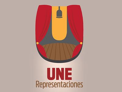 UNE Representaciones flat branding vector illustration design logo