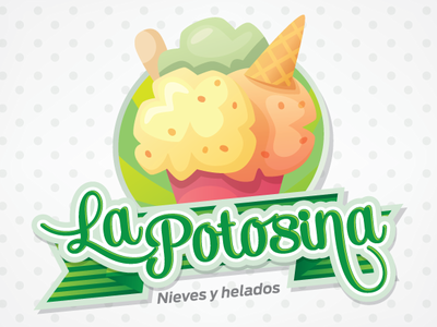 La Potosina typography vector flat logo design branding illustration