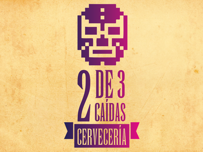 2 de 3 caídas, brewery beer branding beer mexicano mexican wrestling minimal illustrator identity icon typography flat vector logo illustration design branding