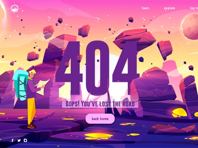 Daily UI #008 - 404 page uxwriting error page 404page tourism travel ux vector illustration web figma dailyui ui design