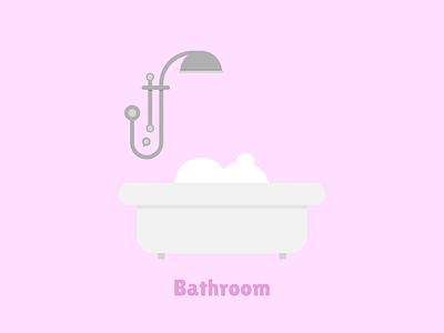 Bathroom pink bathroom bath vector flat illustration designer design flat design affinity designer