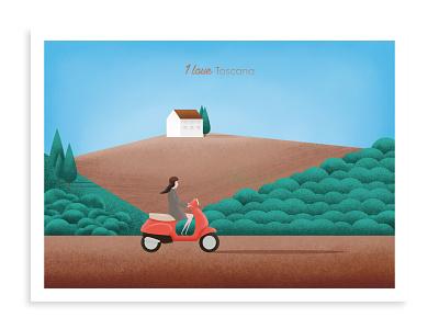 I Love Tuscany designer celebration trip travel tuscany italy scooter vespa illustration affinity designer flat design