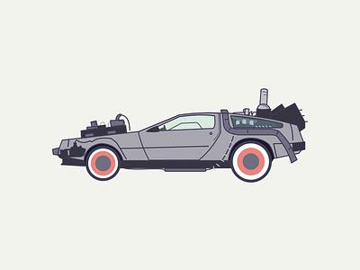 Delorean future color vector flat affinity designer designer illustration design flat design