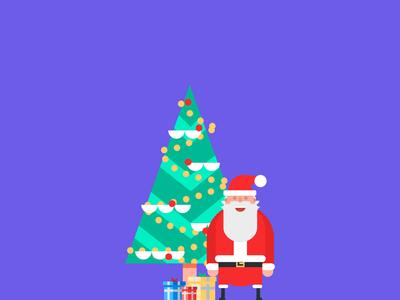 Santa is coming ... gifts red designer illustration affinity designer design flat papá noel santa claus santa christmas tree thanksgiving navidad christmas