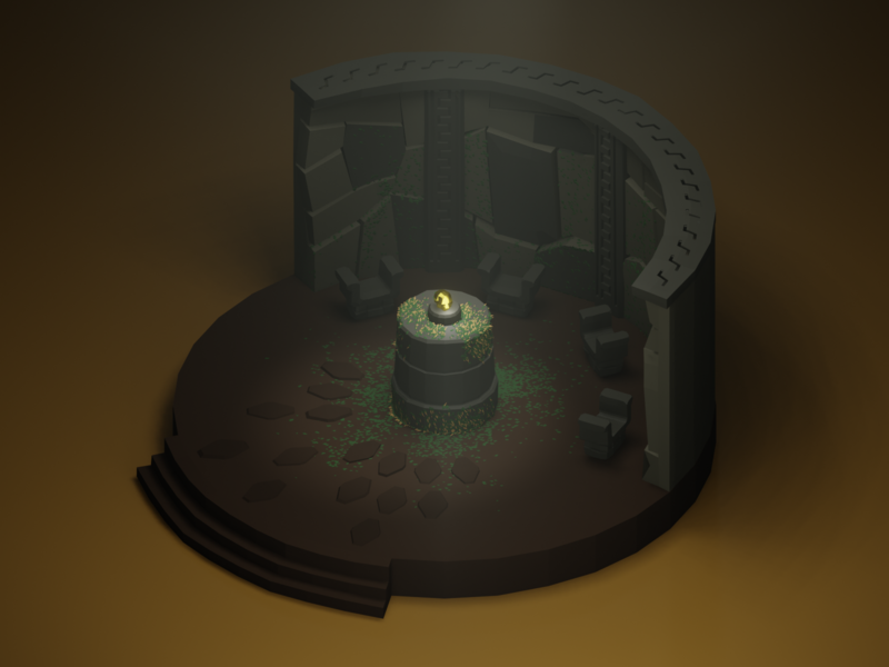 The Golden Idol isometric art low poly blender3d movies isometric lowpoly diorama 3d blender