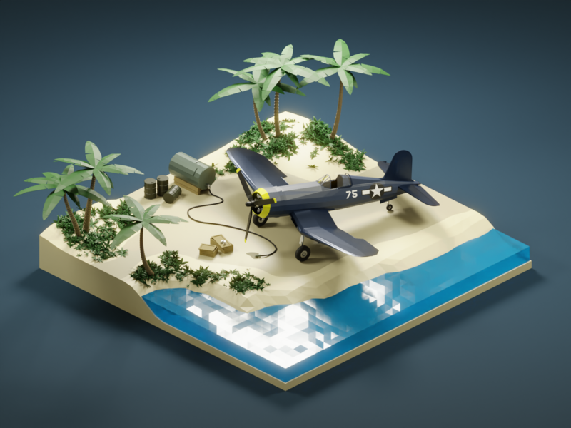 South Pacific 1943 world war 2 3d blender3d lowpoly isometric diorama blender