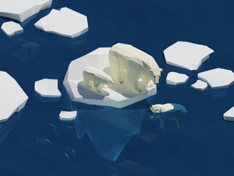Polar bears on sea ice low poly isometric illustration polar bear lowpoly isometric art isometric blender3d blender 3d