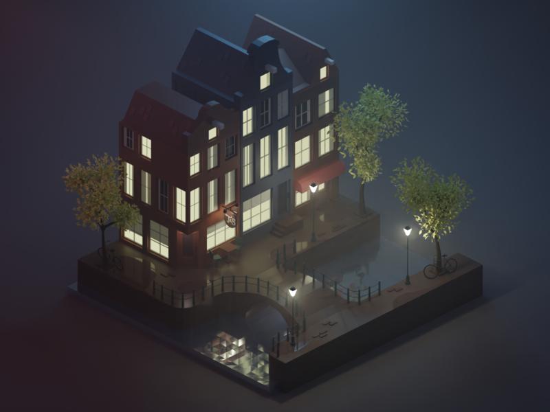 Amsterdam amsterdam blender3d 3d isometric illustration lowpoly isometric art diorama isometric blender