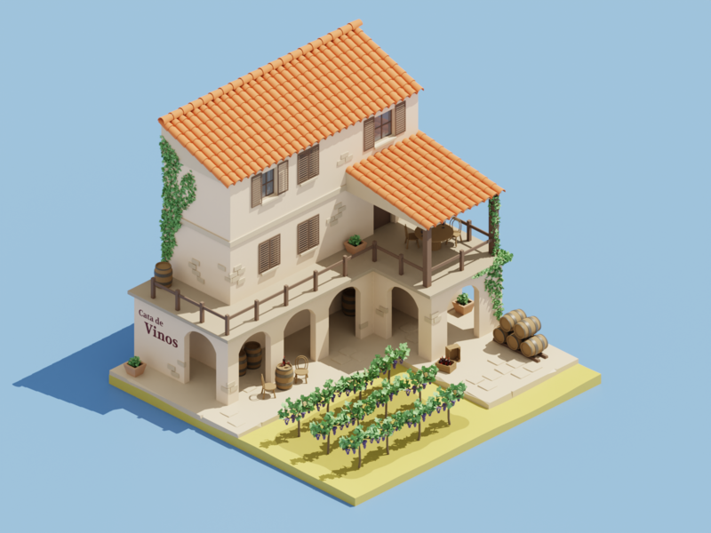 Vinos de España 🍷 low poly lowpoly winery spain blender wine isometric illustration isometric art diorama isometric blender3d 3d