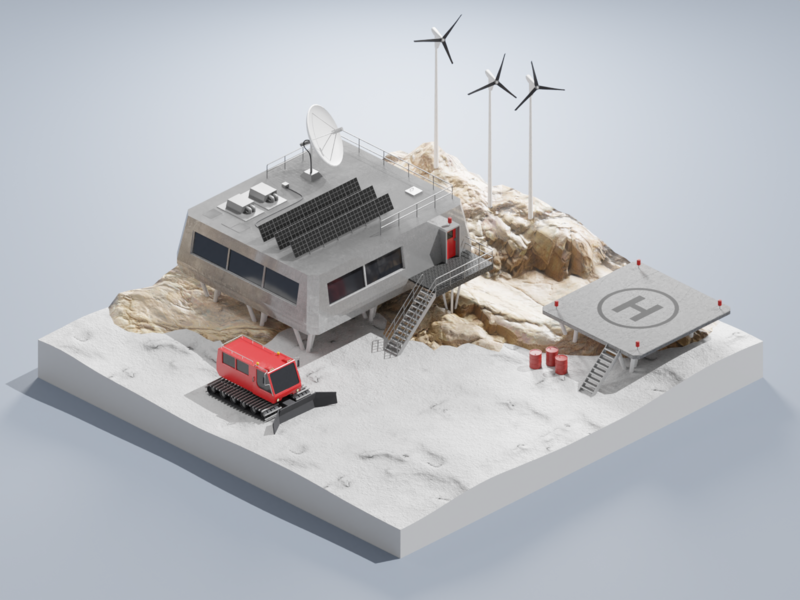 Polar station science antarctica isometric art diorama isometric blender blender3d 3d