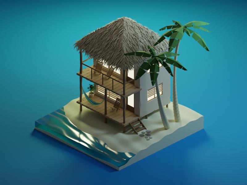 Beach cabaña blender isometric illustration illustration low poly isometric art diorama isometric blender3d 3d cabana