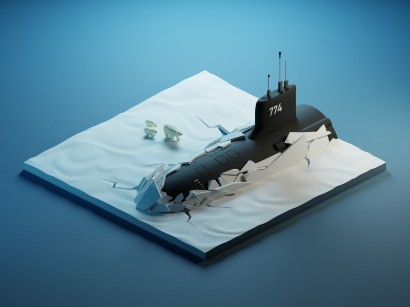 Arctic submarine ice snow polarbear submarine isometric illustration isometric art diorama isometric blender blender3d 3d
