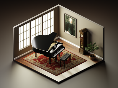 Steinway and Tchaikovsky music piano 3dillustration diorama isometric illustration isometric art isometric blender blender3d 3d