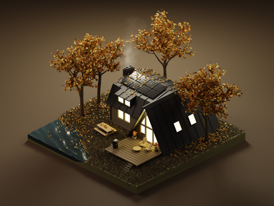 Autumn cabin isometric art diorama autumn 3dillustration isometric illustration isometric blender blender3d 3d