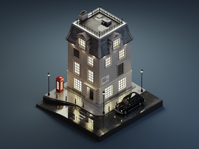 London street london 3dillustration diorama isometric illustration isometric art isometric blender blender3d 3d