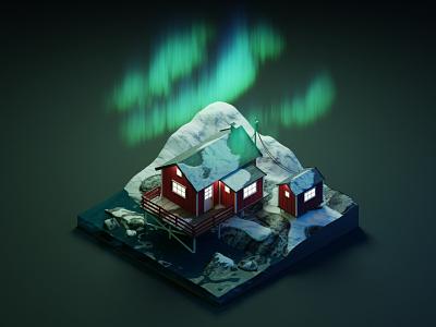 Lofoten, Norway nordic aurora borealis norway 3dillustration diorama isometric illustration isometric art isometric blender blender3d 3d