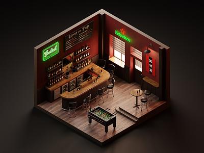 Bar room isometric illustration 3dillustration diorama 3d isometric isometric art 3d art blender3d blender bar amsterdam