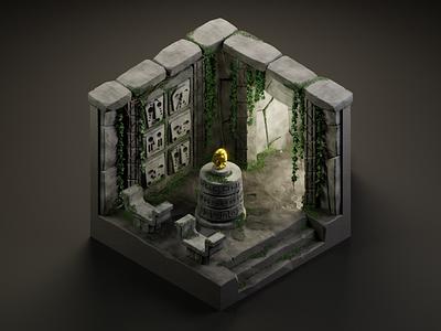 The Golden Idol 3dillustration diorama isometric illustration isometric art isometric blender blender3d 3d