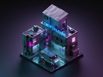 Cryptopunk cyberpunk crypto 3dillustration diorama isometric illustration isometric art isometric blender blender3d 3d