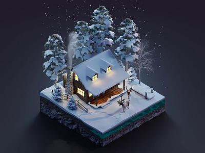 Winter cabin snow winter diorama isometric illustration isometric art isometric blender blender3d 3d