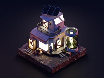 Mars cabin scifi mars diorama isometric illustration isometric art isometric blender blender3d 3d