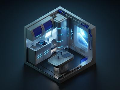 Space kitchen spaceship isometric illustration isometric art isometric blender blender3d 3d