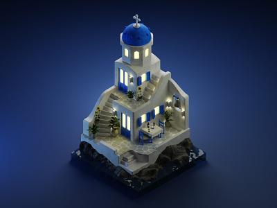 Santorini santorini greece diorama isometric illustration isometric art isometric blender blender3d 3d