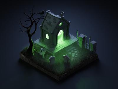 Crypt crypt halloween isometric illustration isometric art isometric blender blender3d 3d