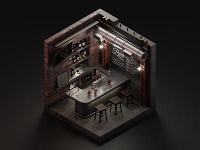 Steel, bricks & beer beer tavern pub bar diorama isometric illustration isometric art isometric blender blender3d 3d