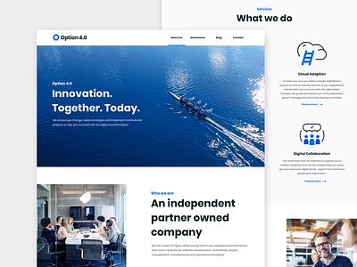 Webdesign & Branding for Option 4.0 typography ux design illustration agency website navigation branding ui logo brand