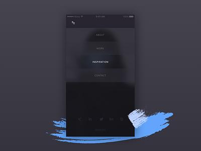 Mobile Navigation brush dark clean simple blur smartphone transparency navigation menu portfolio responsive mobile