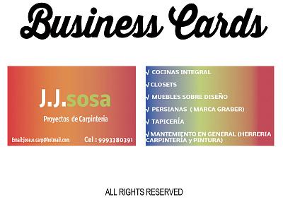 Business Cards J.J Sosa rgb print pantalla logotype logo impreso graphicdesigns designs cards business branding
