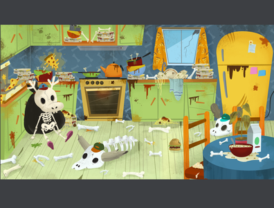 Kitchen background background art illustration