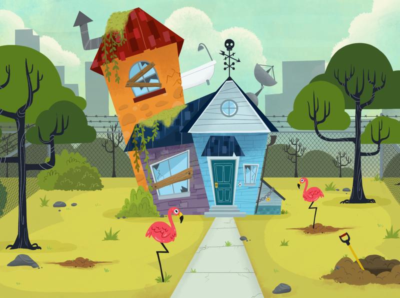 house close up illustration background art