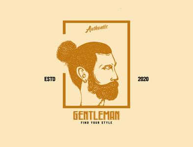Gentleman vintage design vintage vector logo illustration design clothing brand clothing branding