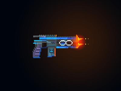 Infinity Pistol (Borderlands) [Pixel Art] barrel hot fire pixel guns pixel gun gun pc games games gaming borderlands 3 borderlands 2 borderlands infinity pistol pixelart pixel art