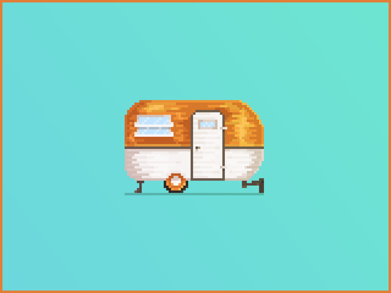 Pixel Art Travel Trailer cute blue gradient shadow light shinny copper gold chrome wheel car rv pixel art pixelart