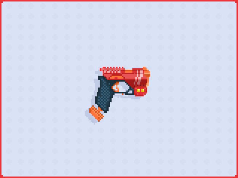 Pixel Art Nerf Gun (Rival Knockout) nerf weapon nerf ball yellow red pixel guns pixel gun knockout nerf gun pixel pixel art pixelart