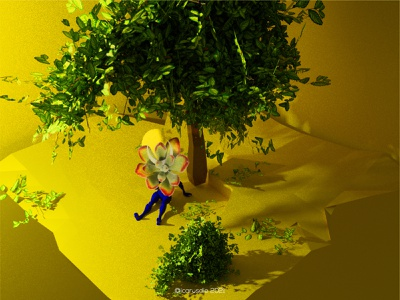 icarosdie Sun rise 🌞 collage illustration design nftart fearnot digitalcollage blender cryptoart yellow loveistheanswer suculenta surreal 3dart 3d gt guatemala icarosdie nft